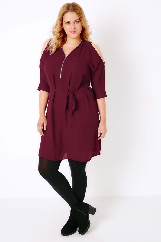 Wine Cold Shoulder Shirt Dress With Zip Front Detail