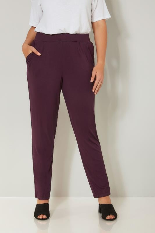 Wine Double Pleat Jersey Harem Trousers