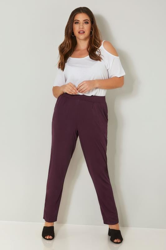 Burgundy Double Pleat Jersey Harem Trousers