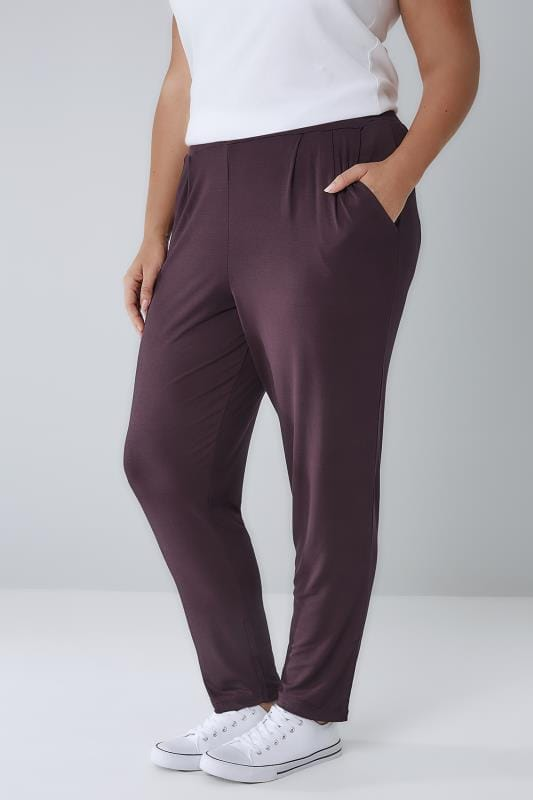 Harem Trousers Wine Double Pleat Jersey Harem Trousers 142070