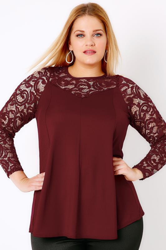 Wine Jersey Crepe Peplum Top With Lace Yoke