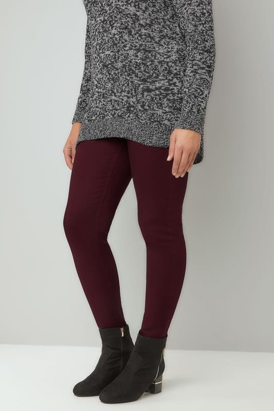 Plus Size Jeggings Wine Pull On JENNY Jeggings