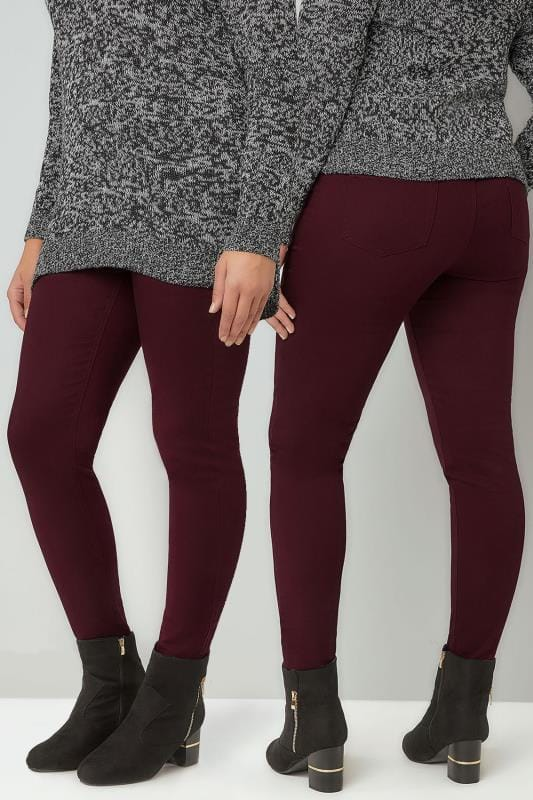Wine Pull On Stretch JENNY Jeggings
