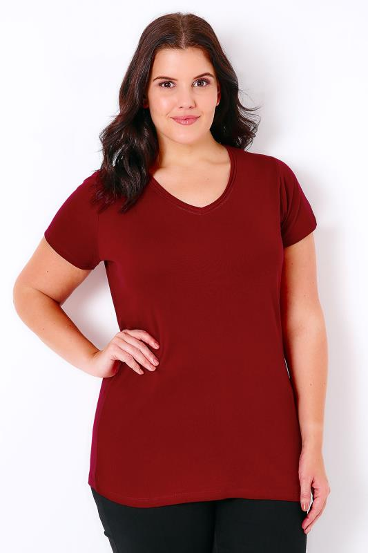 Wine Short Sleeved V-Neck Basic T-Shirt