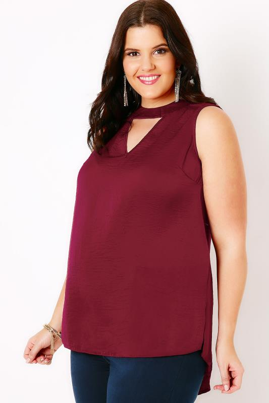 Wine Sleeveless Blouse With Choker Detail & V-Neckline
