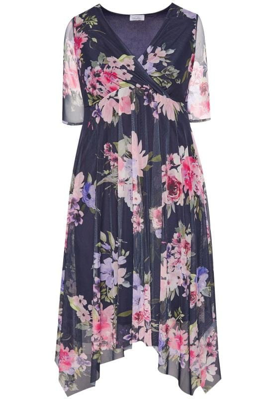 3507d9367cb YOURS LONDON Navy Floral Mesh Midi Dress With Hanky Hem | Sizes 16 ...