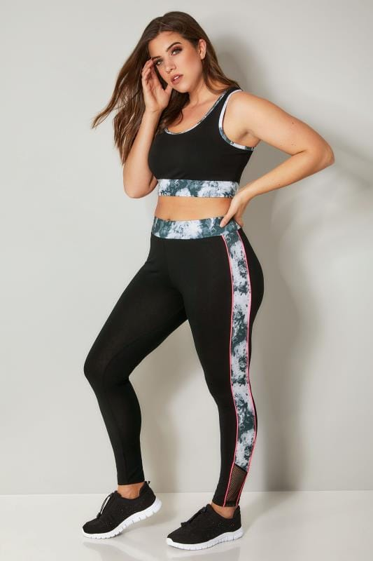 YOURS ACTIVE Black & Grey Marble Trim Leggings