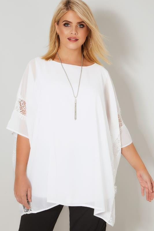 Plus Size Party Tops YOURS LONDON White Chiffon Cape Top With Lace Trim With Free Necklace