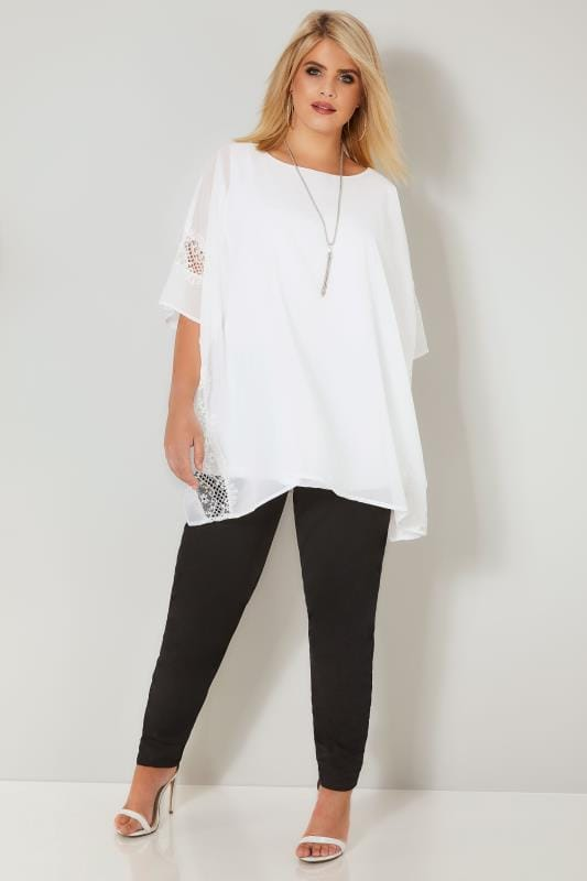 YOURS LONDON White Chiffon Cape Top With Free Necklace