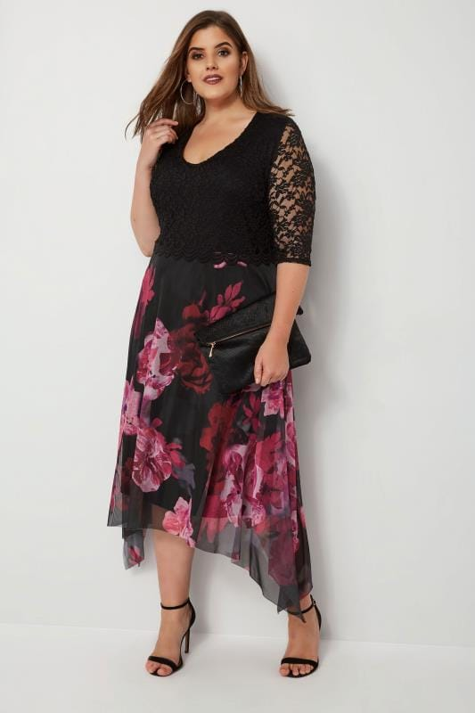 Plus Size Evening Dresses YOURS LONDON Black & Berry Floral Dress With Lace Overlay