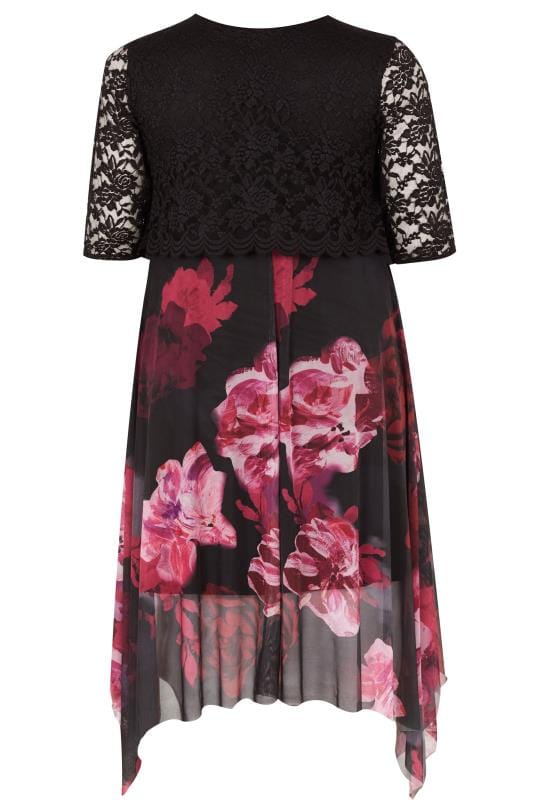 YOURS LONDON Black & Berry Floral Dress With Lace Overlay