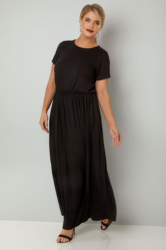 Plus Size Maxi Dresses YOURS LONDON Black Cap Sleeved Maxi Dress With Elasticated Waist