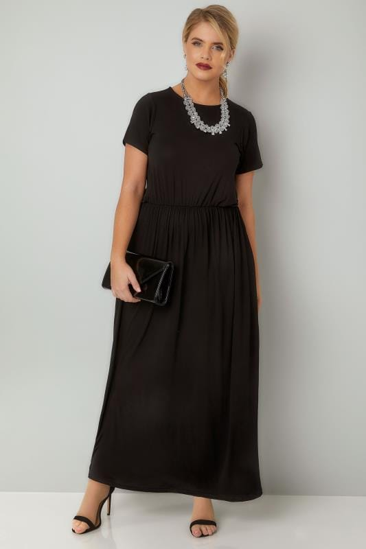 Black Cap Sleeved Maxi Dress With Elasticated Waist Plus