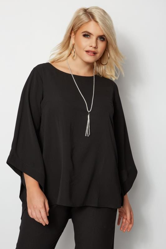 YOURS LONDON Zwarte blouse + ketting