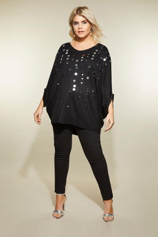 Plus Size Jersey Tops YOURS LONDON Black Cape Top With Disc Sequins