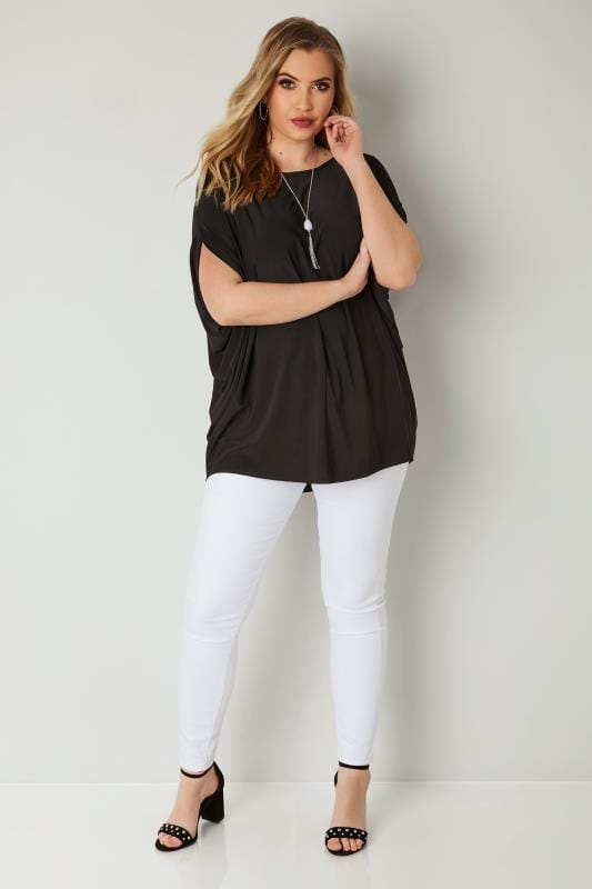YOURS LONDON Black Cape Top With Free Necklace