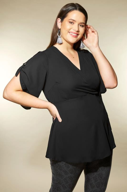YOURS LONDON Black Wrap Top with D-Ring Sleeves