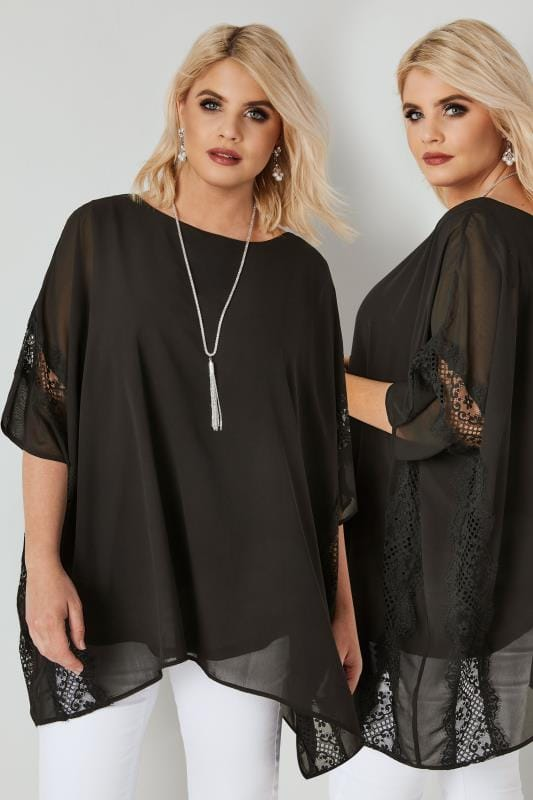 Plus Size Party Tops YOURS LONDON Black Chiffon Lace Top With Necklace