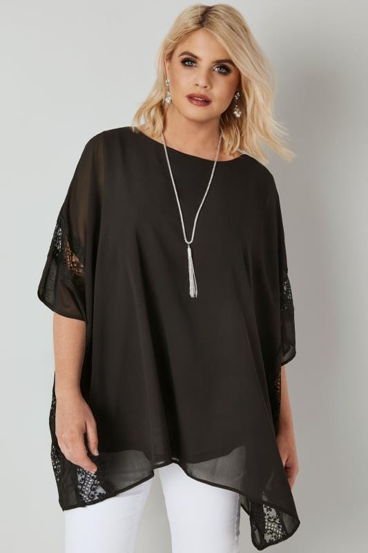 YOURS LONDON Black Chiffon Cape Top