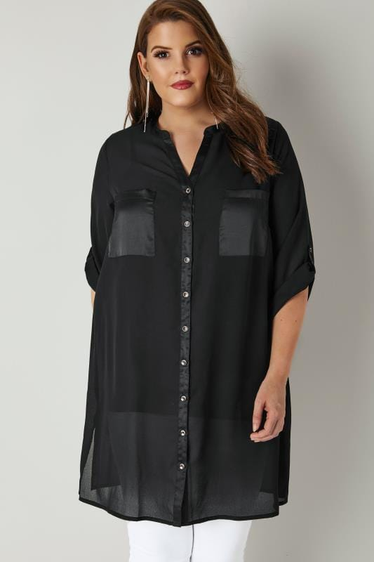 Plus Size Shirts YOURS LONDON Black Chiffon Longline Shirt With Silky Trim