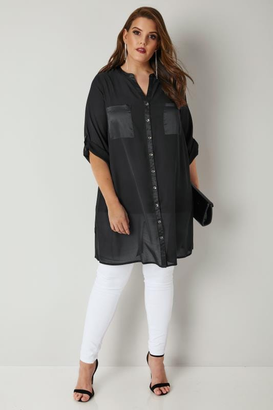 YOURS LONDON Black Chiffon Blouse With Satin Trim