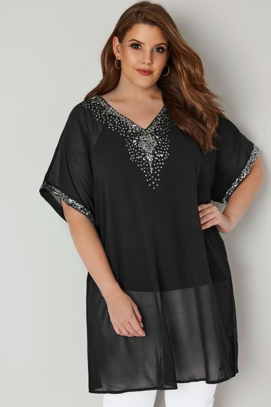 Plus Size Longline Tops YOURS LONDON Black Chiffon Sequin Embellished Kimono Top
