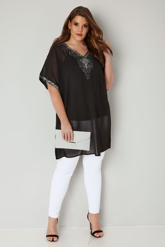 YOURS LONDON Black Sequin Embellished Kimono Top