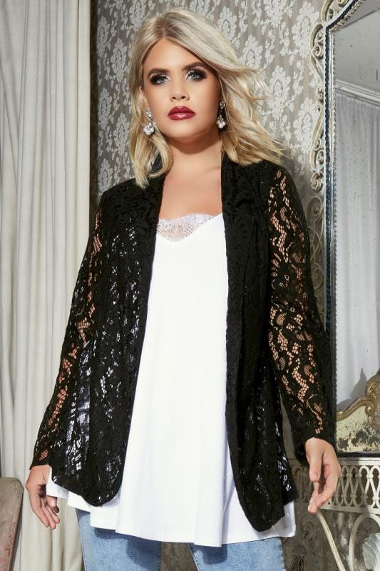 Plus Size Jackets YOURS LONDON Black Corded Lace Jacket