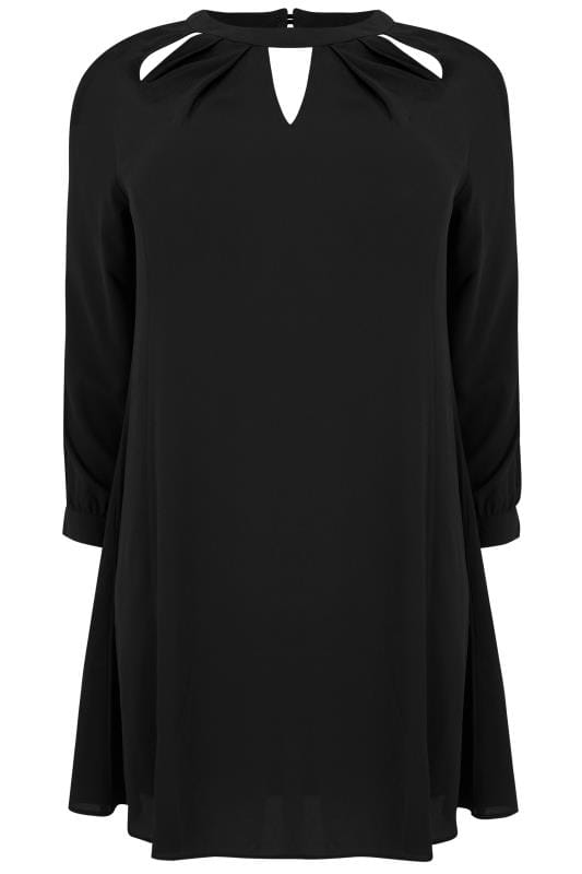 YOURS LONDON Black Crepe Dress With Cut Out Neckline
