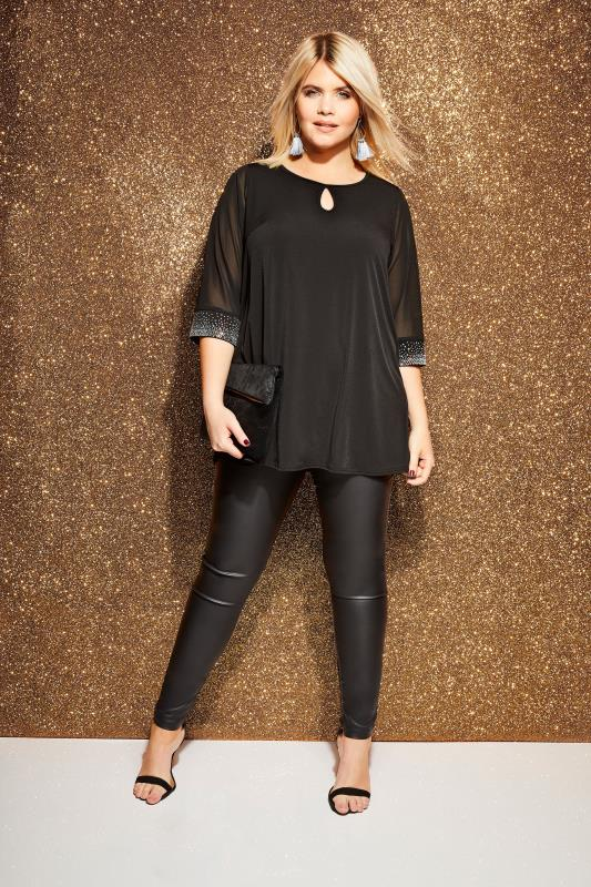 duży rozmiar Bluzki YOURS LONDON Black Diamante Blouse