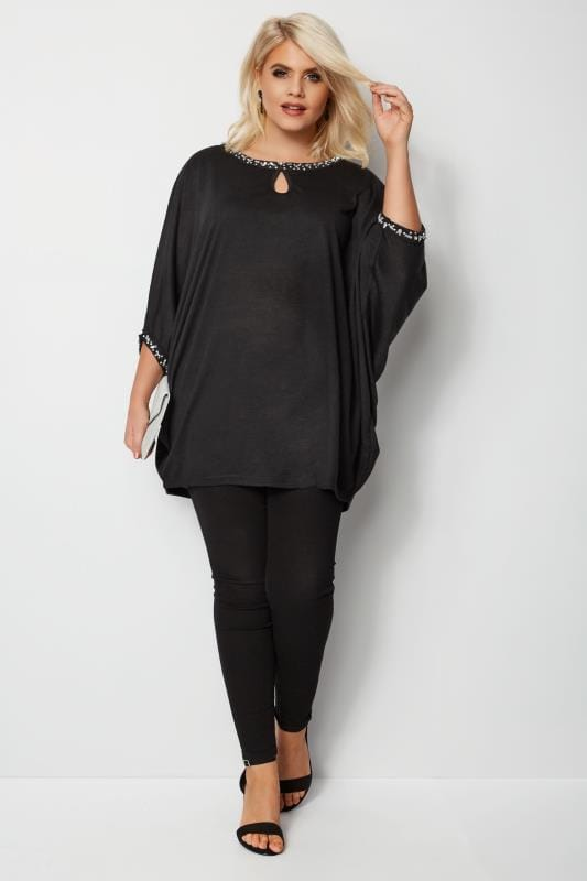 YOURS LONDON Black Diamante Cape Top
