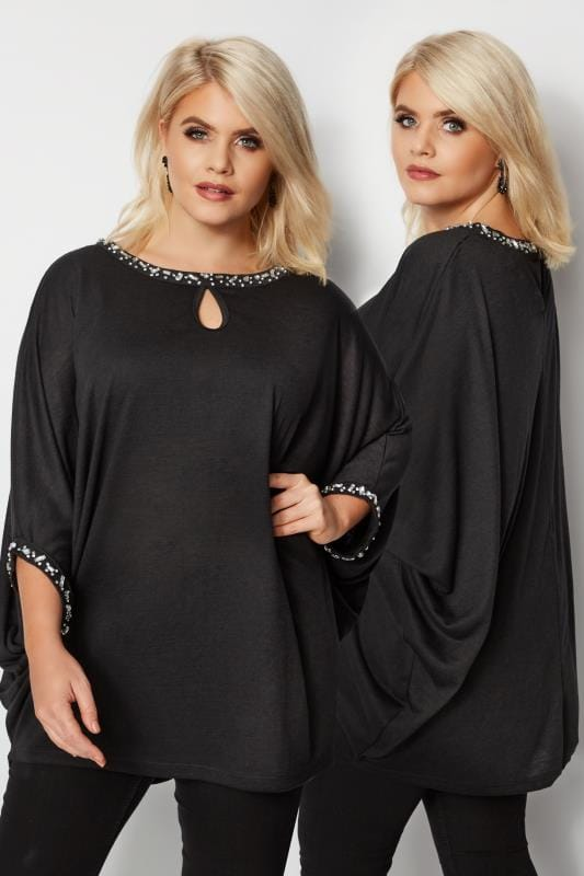 Plus Size Party Tops YOURS LONDON Black Diamante Cape Top