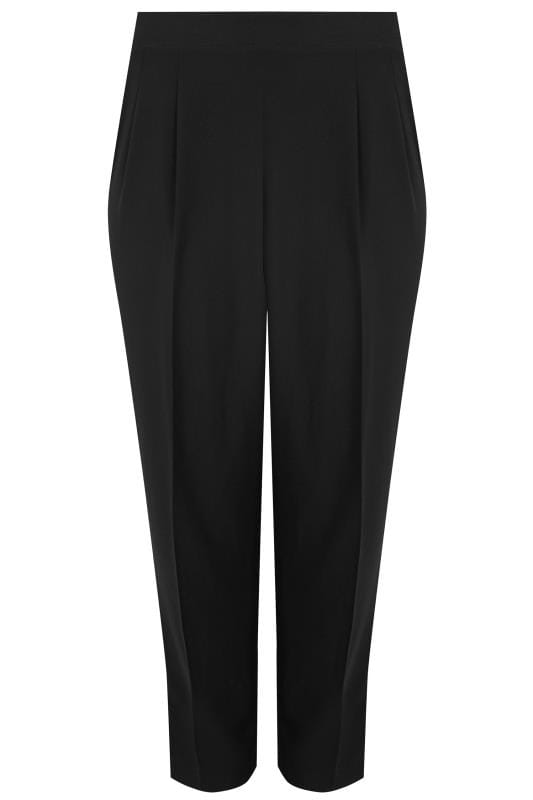 Tapered & Slim Fit Trousers YOURS LONDON Black Double Pleat Satin Back Crepe Trousers 156309