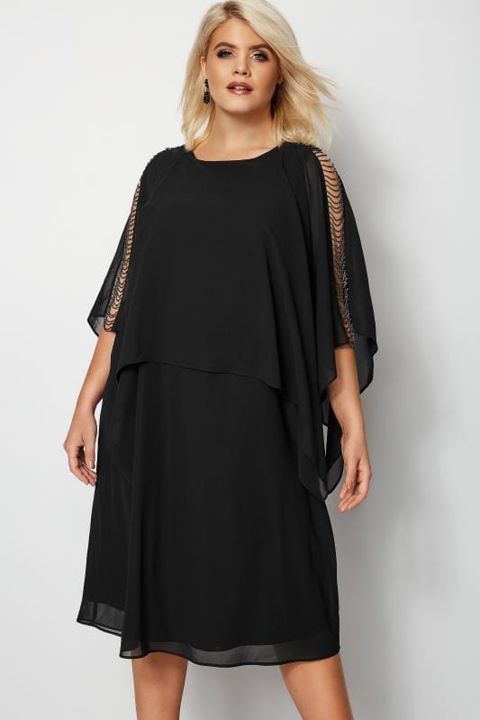 Plus Size Black Dresses YOURS LONDON Black Embellished Cape Dress