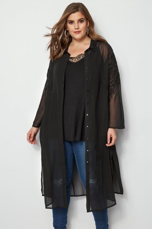 Plus Size Blouses & Shirts YOURS LONDON Black Embellished & Embroidered Maxi Shirt