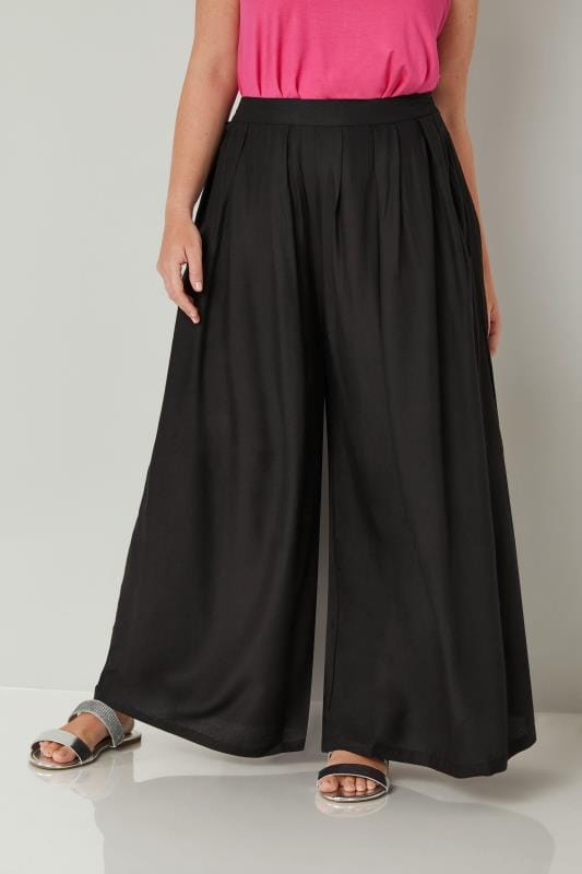 Plus Size Wide Leg & Palazzo Trousers YOURS LONDON Black Extreme Wide Leg Trousers