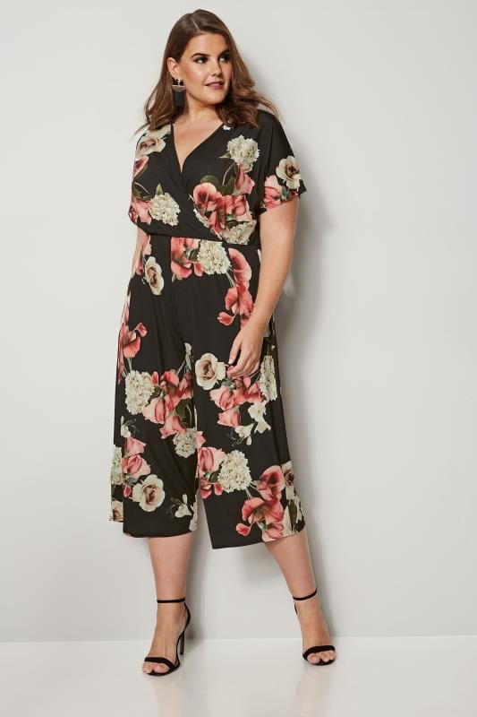 Plus Size Jumpsuits YOURS LONDON Black Floral Culotte Jumpsuit
