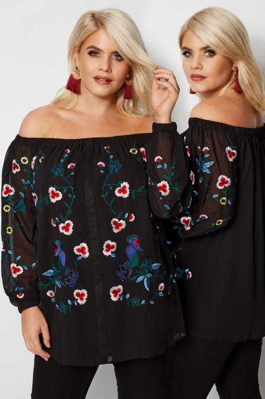 Plus Size Bardot & Cold Shoulder Tops YOURS LONDON Black Floral Embroidered Bardot Top