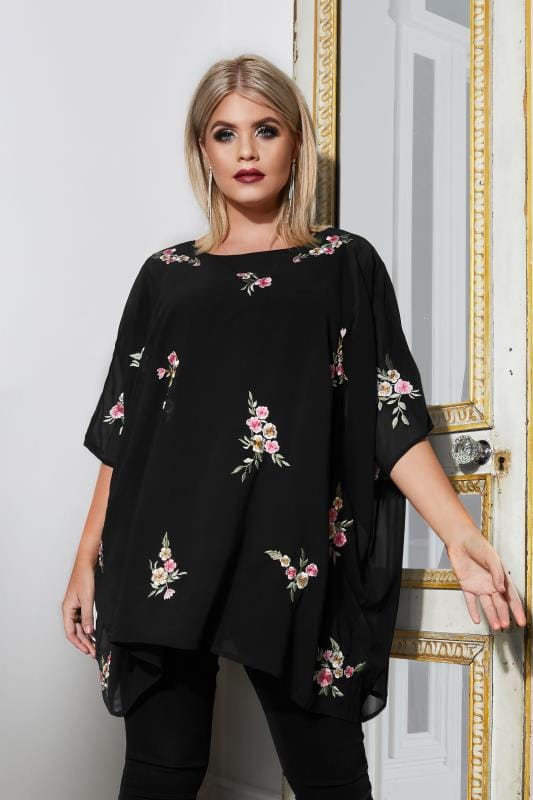 Plus Size Blouses YOURS LONDON Black Floral Embroidered Chiffon Cape Top