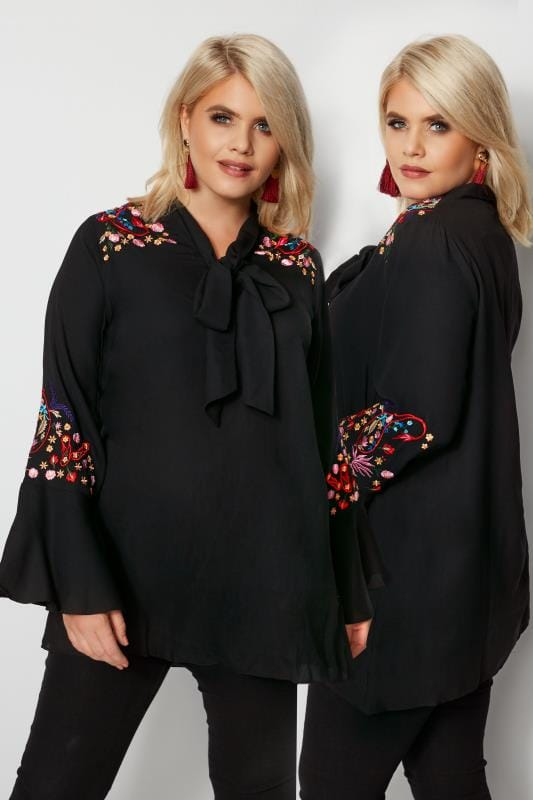 Plus Size Blouses YOURS LONDON Black Floral Embroidered Pussy Bow Blouse