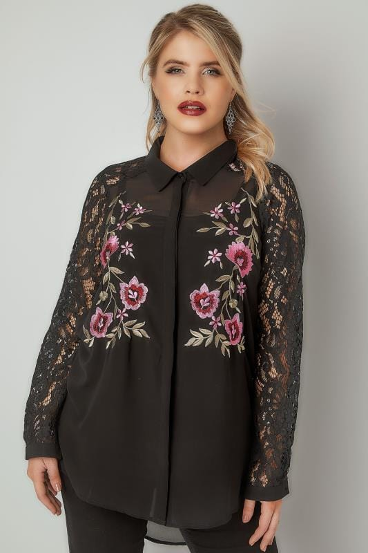 Plus Size Blouses & Shirts YOURS LONDON Black Floral Embroidered Shirt With Lace Sleeves