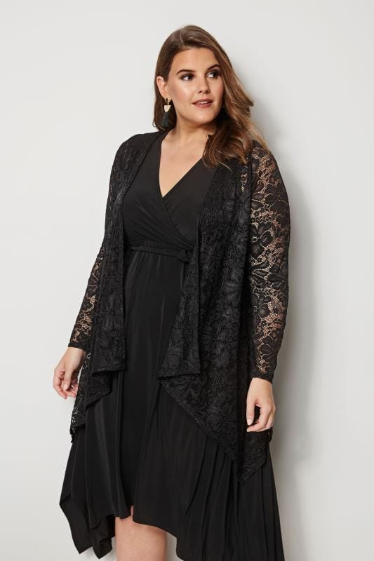 Plus Size Cardigans YOURS LONDON Black Floral Lace Cardigan