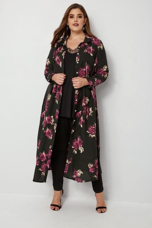 Plus Size Blouses & Shirts YOURS LONDON Black Floral Maxi Shirt