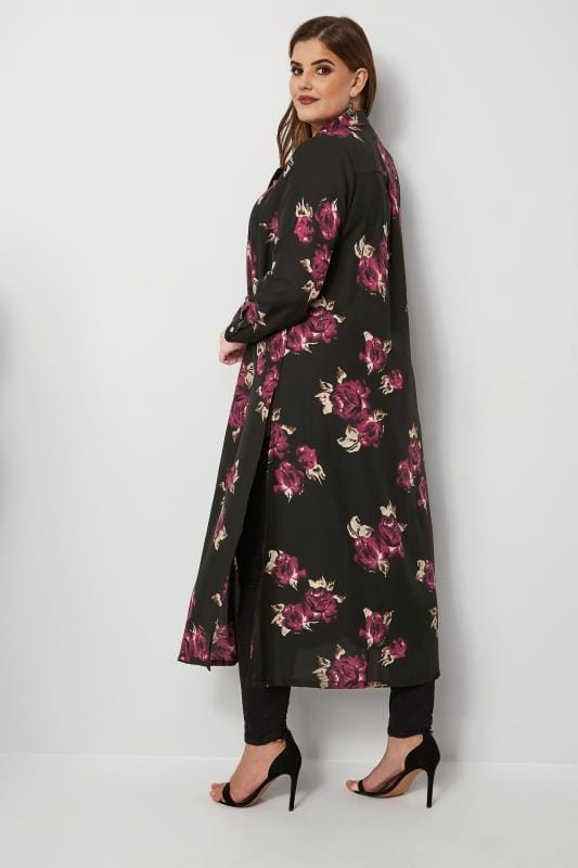 YOURS LONDON Black Floral Maxi Shirt