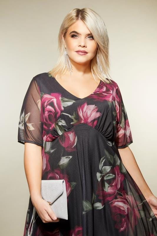 YOURS LONDON Black & Berry Floral Midi Dress