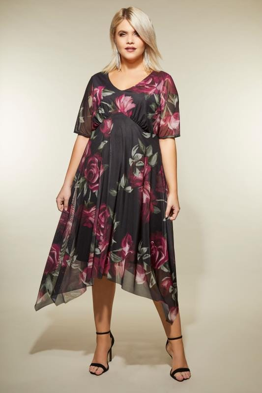 Plus Size Midi Dresses YOURS LONDON Black & Berry Floral Midi Dress