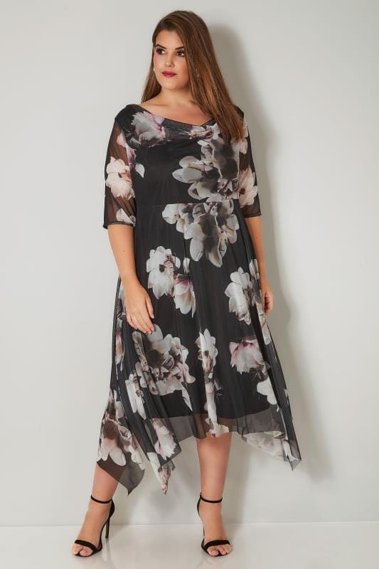 Plus Size Black Dresses YOURS LONDON Black Floral Midi Dress With Cowl Neck