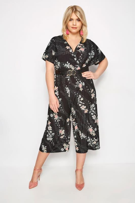 Plus Size Jumpsuits YOURS LONDON Black Floral & Spot Jumpsuit