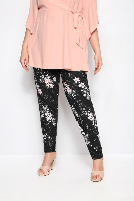 Plus Size Tapered & Slim Fit Pants YOURS LONDON Black Floral & Spot Tapered Trousers
