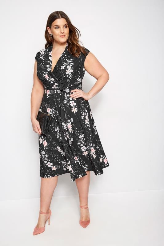 Plus Size Skater Dresses YOURS LONDON Black Floral Spot Wrap Skater Dress